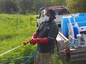 Kalan Land Management Officer managing weeds